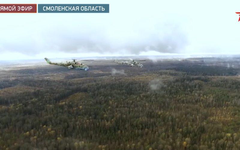 Под Смоленском боевые вертолеты нанесли воздушный удар по наземным целям «противника»